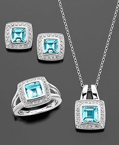 For Mom? Blue Topaz Jewelry Set, Sterling Silver Blue Topaz (5-1/2 ct. t.w.), White Topaz (1/2 ct. t.w.) and Diamond Accent Jewelry Set.