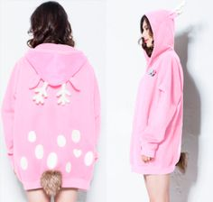 "Use this coupon code ""playbanovici"" to get all 10% off! Japanese kawaii cartoon elk hooded fleece coat"
