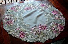 Em's Heart Antique Linens -Antique Society Silk Embroidered Tea Cloth