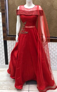 Wedding wear Gown Designer Indian Bollywood Anarkali Long Prom Dress readymade L Indian Wedding Gowns, Indian Gowns Dresses, Prom Dresses, Lehenga Gown, Red Lehenga, Anarkali, Bridal Lehenga, Indian Designer Outfits, Designer Gowns