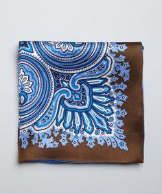 Countess Mara blue and black paisley silk 'Spangler' pocket square - so handsome!