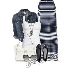 a maxi dress with a jean jacket, great combo!  love the jewelry and cute flats.