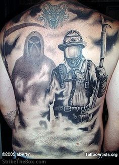 Firefighter Tattoos Feature See MORE at www.tattoodlifestyle.com #tattoo #magazine #ink #firefighter #color #tattoodlifestyle