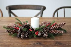 A pine cone wreath is a cool alternative to a usual one but you may also add some of them to a fir tree wreath. Paint the pine cones or glitter them,