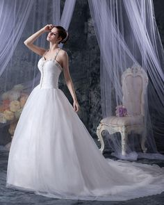 Embellishment Halter Organza Beaded Chapel Ball Gown Wedding Dress