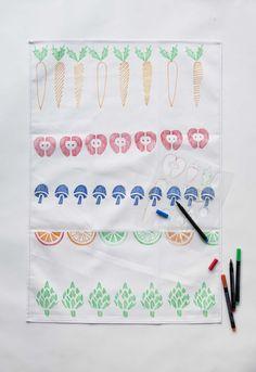 Market Tea Towel Stencil Kit - yellow owl workshop