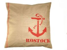 'Rostock' // hand printed pillow case with anchor