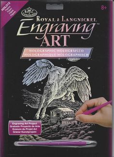 "Royal Langnickel Engraving Art Kit NEW Holographic Foil Pegasus 8"" x 10"" & Tool #RoyalLangnickel"