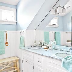 This Old House (6/12) A Family Affair - light blue and white master bath with sloped cathedral ceiling
