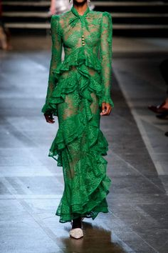 Erdem - Kimber Ruffled Cotton-blend Lace Gown - Green
