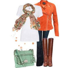 """""""Orange and Teal"""" by sydneyac2017 on Polyvore"""