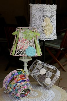 Handmade Fabric Strip Shabby Chic Round Lampshade by ArtfulMelange