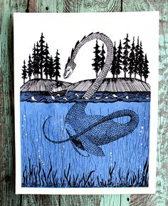 Loch Ness Monster Encounter Screen Print by thehungryfox on Etsy https://www.etsy.com/listing/88574587/loch-ness-monster-encounter-screen-print