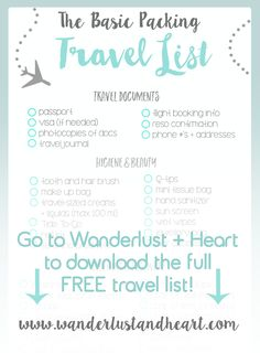 Worried about forgetting to pack something important? If you need visual help to keep you organized, I got you covered! This travel packing list covers all the basics, plus has space for you to fill in your own items! - Wanderlust + Heart