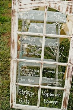 rustic window menu idea