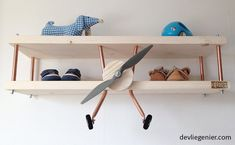 Items similar to Handmade airplane wall shelf from The Aviator. Beautiful spruce wood with polished copper or aluminum. In natural, white, grey or bluewash. Baby Room Decor, Nursery Room, Kids Bedroom, Toddler Rooms, Baby Boy Rooms, Surf Room, Natural Bedroom, Disney Bedrooms, Woman Cave
