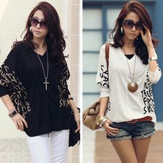 Discount China china wholesale Top Printed Batwing Casual T-shirt Loose V-Neck Half Sleeve Blouse [31422] - US$14.99 : DealsChic