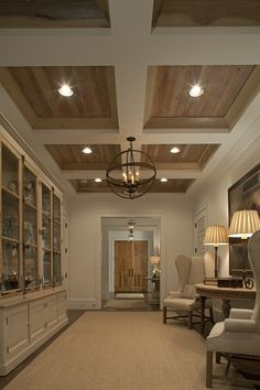 Looking for coffered ceiling design ideas and photos? Coffered ceilings, Home ideas and Ceilings Style At Home, Wood Ceilings, Coffered Ceilings, Tray Ceilings, Plank Ceiling, Coffered Ceiling Designs, Ceiling With Beams, Wood On Ceiling Ideas, Wood Ceiling Panels