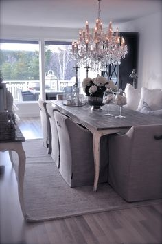 . French country chic white neutral dining room