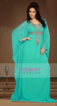Tranquil Mint Green Color Faux Georgette Embroidered Kaftan