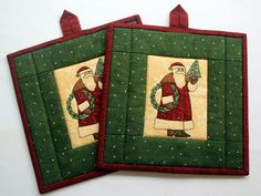 Santa Potholders  Insulated Christmas Pot by RedNeedleQuilts