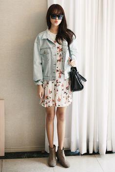 dress + denim jacket