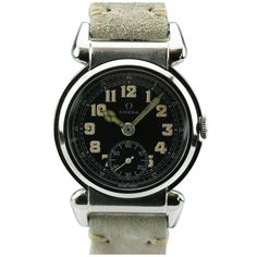 1stdibs | Omega Stainless Steel Fancy Lug Officer's Wristwatch circa 1940s