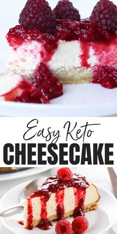 Low Carb Cheesecake Recipe – Sugar-Free Keto Cheesecake – A gluten-free, low carb cheesecake recipe that's EASY to make with only 8 ingredients and 10 minutes prep time. This sugar-free keto cheesecake tastes just like the real thing – delicious! Desserts Keto, Low Sugar Desserts, Keto Dessert Easy, Low Carb Sweets, Easy Desserts, Dessert Recipes, Foods Low In Sugar, Dinner Recipes, Diabetic Desserts Sugar Free Low Carb