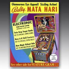 The Arcade Flyer Archive - Pinball Machine Flyers: Mata Hari, Bally Manufacturing Co. Key Bank, Make A Flyer, Mata Hari, Graphic Design Trends, Old Ads, Good Ole, Best Memories, Pinball, Arcade Games