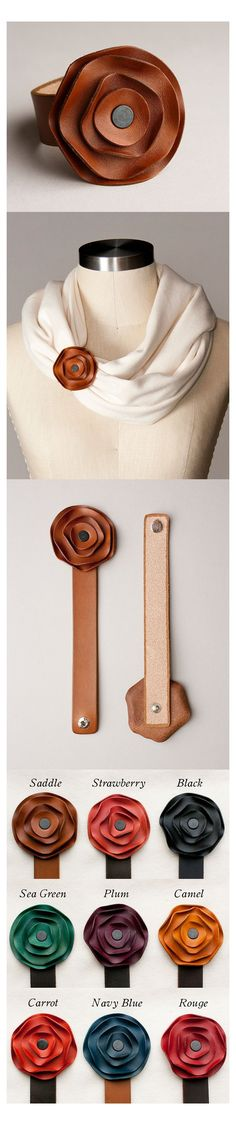 Leather Accessories, Leather Jewelry, Fashion Accessories, Diy Accessoires, Chunky Scarves, Leather Projects, Leather Crafts, Leather Working, Fabric Flowers