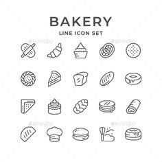 Buy Set Line Icons of Bakery by moto-rama on GraphicRiver. Set Line Icons of Bakery Isolated on White Icons Web, Food Icons, Icon Design, Web Design, Flat Design, Design Art, Bread Icon, Bakery Icon, Bakery Logo Design