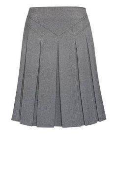 invert pleat skirt with assymetrical yoke Work Skirts, Cute Skirts, Pleated Skirt, Dress Skirt, Church Fashion, Work Attire, Mode Style, Dress Codes, Skirt Outfits