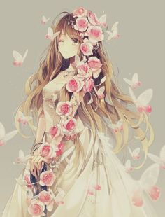 Anime Girl covered with Pink Roses and surrounded by Butterflies Art.                                                                                                                                                                                 More