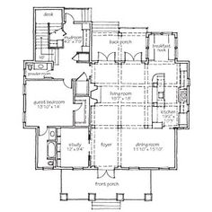 Bayou Bend Floor Plans | First Floor | SouthernLiving.com: missing butler pantry, larger kitchen with keeping room