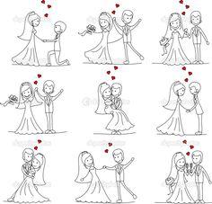 Hochzeit Cartoon Braut und Bräutigam