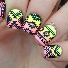 Black & Ombre Tribal Nail Design