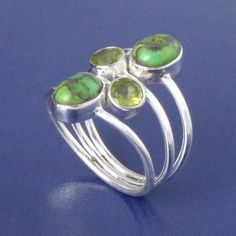 925 STERLING SILVER COPPER TURQUOISE & PERIDOT RING 5.50g SIZE 9 DJR3287 #Handmade #Ring