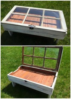 DIY Wood Pallet Projects: Here's a gorgeous DIY project for your living room – a window coffee table! Diy Wood Pallet, Pallet Crafts, Diy Pallet Projects, Wood Pallets, Pallet Ideas, Repurposed Wood Projects, Pallet Patio, Patio Bench, Wooden Projects
