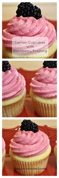 Lemon Cupcakes with Blackberry Frosting Collage Cupcake Tray, Cupcake Cakes, Cupcake Recipes, Dessert Recipes, Lemon Cupcakes, Birthday Desserts, Easy Desserts, Eat Cake, Sweet Recipes