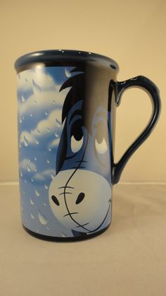 "Vintage Walt Disney Store ""Eeyore pessimist"" Tall Blue Mug I have the Mickey mug, would love Eeyore --KB"
