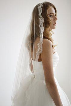 Mary Silk tulle mantilla wedding veil with by HoneyPieBridal