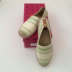 NWT Striped Elastic Espadrilles TORY BURCH Brand new with tags Tory Burch Espadrilles green and cream striped. Please note there is a little bit of peeling on the actual box, not sure how that happened but shoes are perfect Tory Burch Shoes Espadrilles