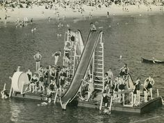 A floating pontoon in the Manly Harbour pool in the Northern Beaches region of Sydney (year unknown). Old Pictures, Old Photos, Floating Pontoon, Bronte Beach, Terra Australis, History Photos, Water Slides, Historical Pictures, Sydney Australia