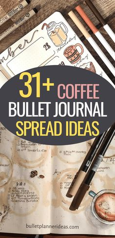 Fall in to flavorful Coffee themed Bullet Journal Spreads and Layout ideas! Included are Monthly Spreads, Weekly Spreads, Habit Trackers, Doodles and more! December Bullet Journal, Bullet Journal Monthly Spread, Bullet Journal Books, Book Journal, Coffee Bullet, Habit Trackers, Calendar Layout, Weekly Spread, Bullet Journal Inspiration