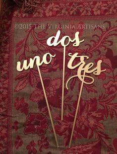 Wedding Table Numbers - Set of 1-6 - Spanish - Español- Numeros de Mesa - Elegance Line