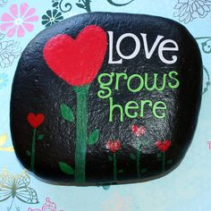 Love Grows Here Garden Stone by PicksandStones on Etsy