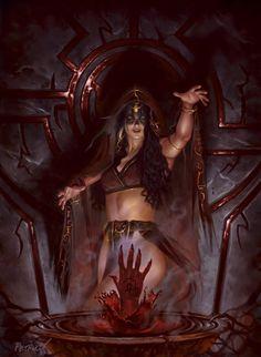 Blood Price - First painting in the Dark Gods series.Illustrator of Fantasy, Horror, Sci-. Fantasy Witch, Fantasy Demon, Fantasy Kunst, Gothic Fantasy Art, Demon Art, Fantasy Art Women, Witch Art, Medieval Fantasy, Fantasy Girl