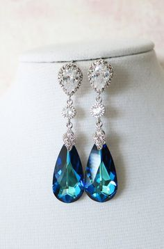 Bermuda Blue Faceted Teardrop Crystal Earrings, Something blue, Peacock Wedding, Bridal Earrings, Bridesmaid Jewelry, Weddings