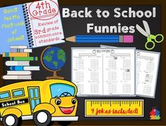 On sale until August 1st!These Back to School Funnies are perfect for the first week of school and are sure to give your students a chuckle! Your kiddos will have fun while refreshing all of the 3rd grade math concepts they have forgotten over the summer. 4 back to school themed jokes along with answers are included!