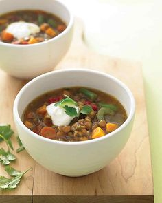 The yogurt makes a cool, creamy counterpoint to this mildly spicy soup made with protein-packed dried lentils. As a budget bonus, this recipe makes enough to have a cup or two for lunch the next day.